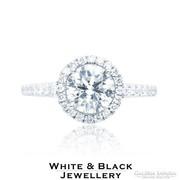 1,26 karátos gyémánt eljegyzési gyűrű fehér aranyból - Új