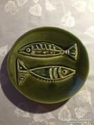 Halas, zöld kerámia falitál - green ceramic bowl to the wall