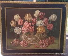 Gyönyörű Jelzett Rózsás antik festmény