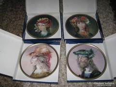 Szász Endre festmények tányéron 19 cm, 4 db