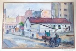 1928 PARIS RUE DE JAVEL ANTIK UTCARÉSZLET FESTMÉNY