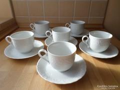Mitterteich Bavaria 6 személyes fehér porcelán csésze szett