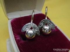 Ezüst button patentos fülbevaló, leveles-bimbós
