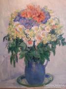 TELKESSY VALÉRIA virágcsendélet olaj-vászon 57x77 cm