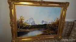Festmény/tájkép díszes faragott kerettel
