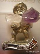 Ametiszt-higyikristály miniatűr ezüstözött SZERENCSEHOZÓ KŐ