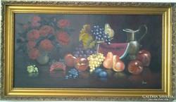 Gyümölcsök rózsával  c.festmény, csendélet