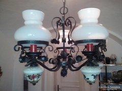 Csodalatos rusztikus csillar,kezzel festett porcelan