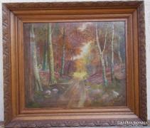 Erdőrészlet, antik  olaj festmény olajfestmény