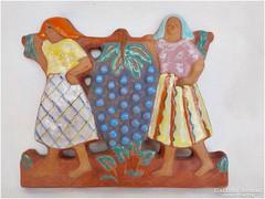 Szőlővivők Csécsy kerámia falikép
