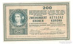 200 korona 1918 Sorszám nélkül. Nagyon ritka