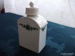 Ritka!-Fürstenberg-porcelán teás doboz-palack-rózsa fogóval
