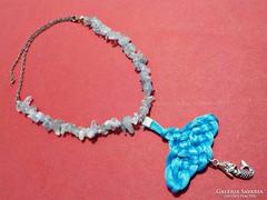 Akvamarin nyaklánc sellő medállal
