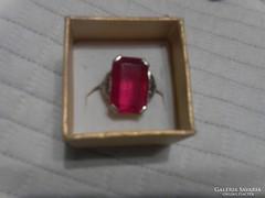 Piros köves bizsu  gyűrű