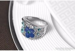 Kék és zöld virág mintás gyűrű 8-as ÚJ!
