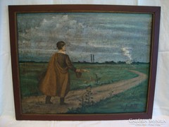 Petőfi kiskőrösi szülőháza felé festmény