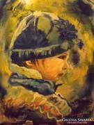 Festmény - modern- Kisfiú télen
