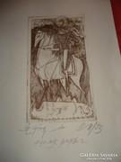 Kass János szignált, dedikált rézkarca: Szent György