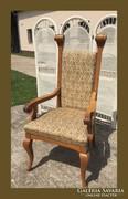 Impozáns trón szék,gyönyörű kárpittal,130cm magas