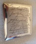 Ezüst cigarettadoboz,7 személy aláírásával,köztük 4 főrendi!