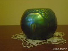 Zsolnay eozin ginko mintás gömb váza