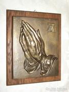 Dürer - imádkozó kéz plasztika falikép