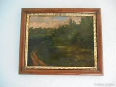 Antik szignózott olaj festmény tájkép