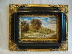 Jelzett olaf-fa tájkép festmény gyönyörű keret