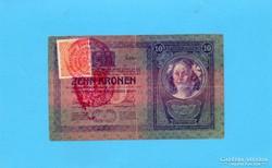 Ritkább 10 Korona 1904 Szerb Bélyegzés + Bélyeg!!