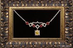 Ezüst nyakék/collier -  rubinnal és topázzal