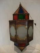 Régi Török színes üveges réz lámpa