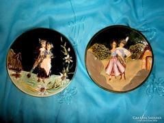 2 db Antik majolika szecessziós fali tányér pár