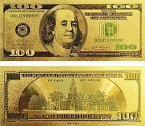 24 karátos arany bevonatú 100 dollar