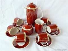 Art deco Hollóházi bordó - arany kávéskészlet