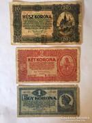 Korona 1920 különböző címlet