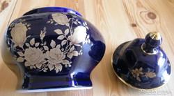 Kobalt kék Bavaria cukortartó, kézi festés, arany