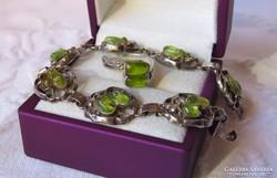 Meseszép vintage kézműves ezüst szett olivinnel