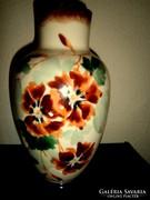 Antik kézzel festett tejüveg  váza -nagyméretű