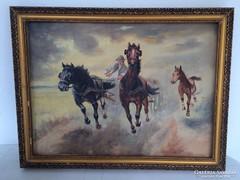 Szapáry - Vágta - 60x80cm-es festmény, egyedi keretben