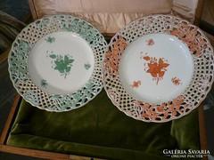 Zöld és Orange Apponyi áttört szélű falitányér