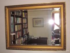Óriás, metszett - fazettás tükör antik ökörszemes keretben