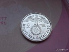"""1939 """"A""""náci ezüst horogkeresztes 2 márka gyönyörű"""