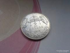1912 ezüst 2 korona,magyar szép db!