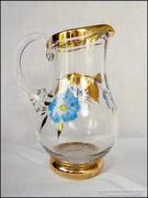 Festett - aranyozott üveg kiöntő - kis méret