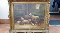 Európai festő / Birkák az ólban