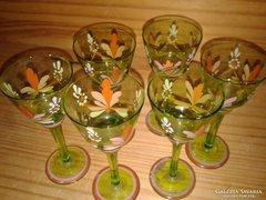 Kézzel festett antik orosz ? uránzöld üveg pohár készlet