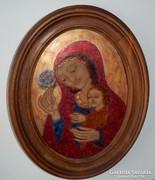 Tűzzománc ZSÓRI BALOGH ERZSÉBET - Madonna Jézussal