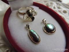 Abalone ezüst medál 2! és ezüst gyűrű - ékszerszett
