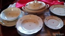 Antik Zsolnay porcelán étkészlet, tálaló