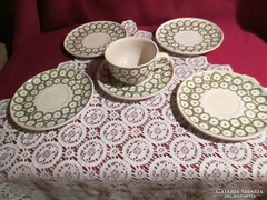 Kézzel festett 5 fajansz  alátét tányér a csésze repedt 0817